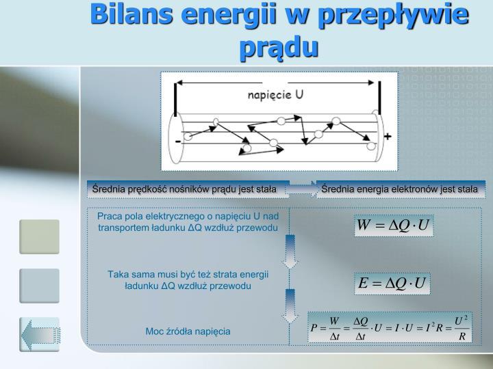 Bilans energii w przepływie prądu
