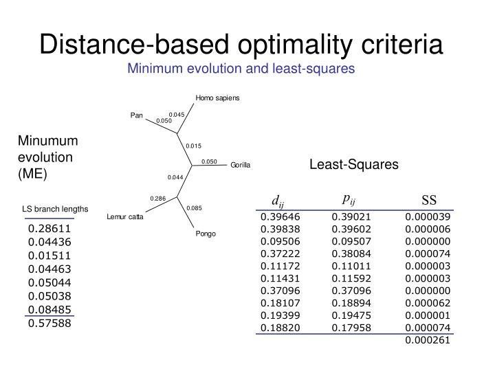 Distance-based optimality criteria