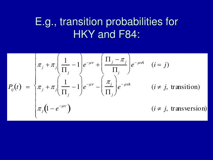 E.g., transition probabilities for