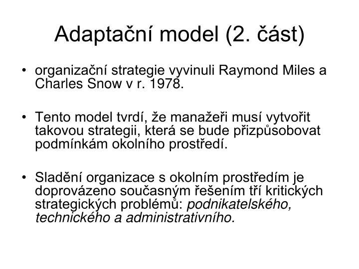 Adaptační model (2. část)