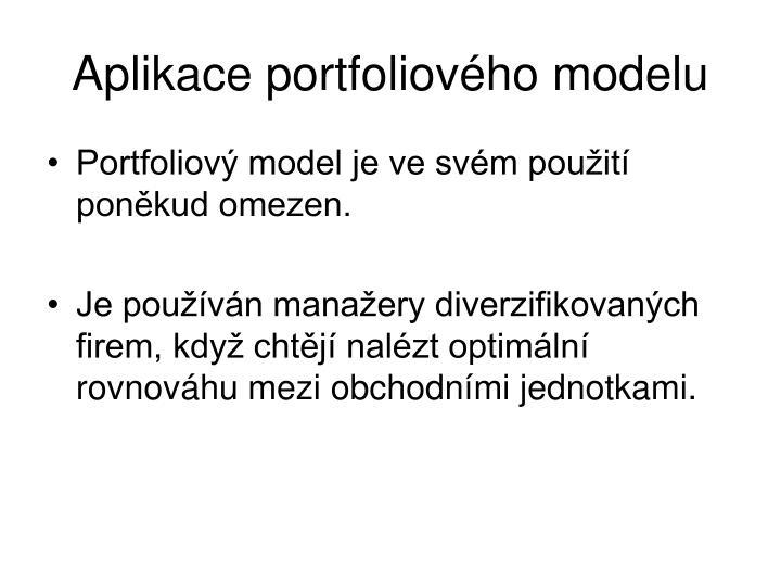 Aplikace portfoliového modelu