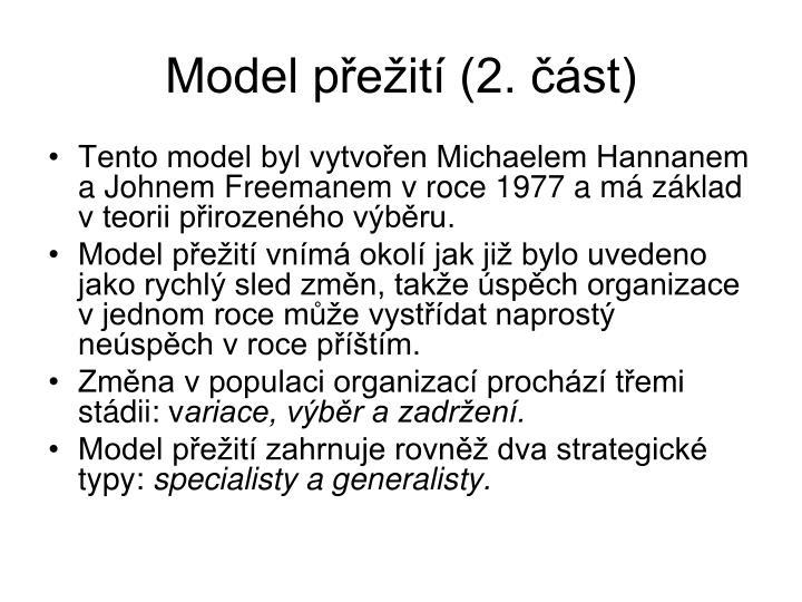 Model přežití (2. část)