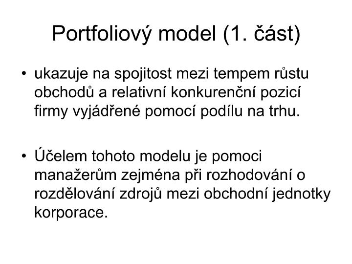 Portfoliový model (1. část)