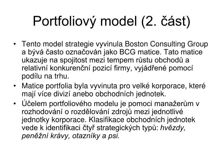 Portfoliový model (2. část)