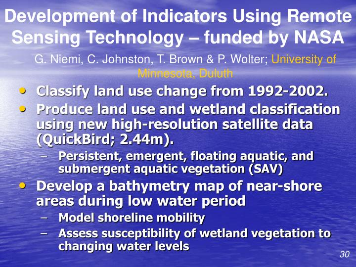Development of Indicators Using Remote Sensing Technology – funded by NASA