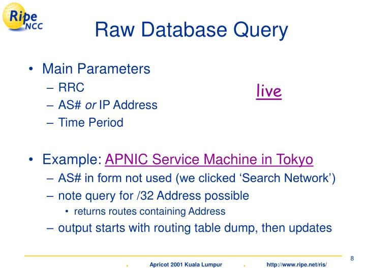 Raw Database Query