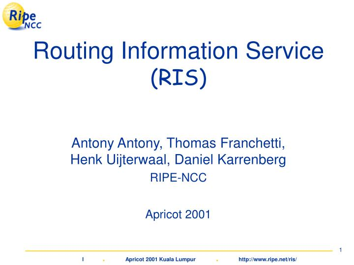 Routing information service ris