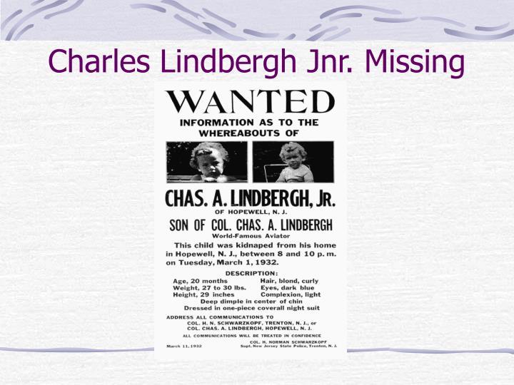 Charles Lindbergh Jnr. Missing