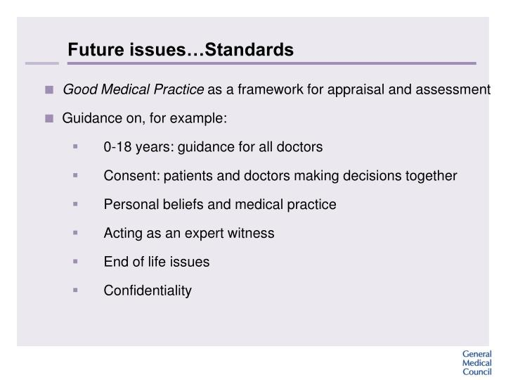 Future issues…Standards