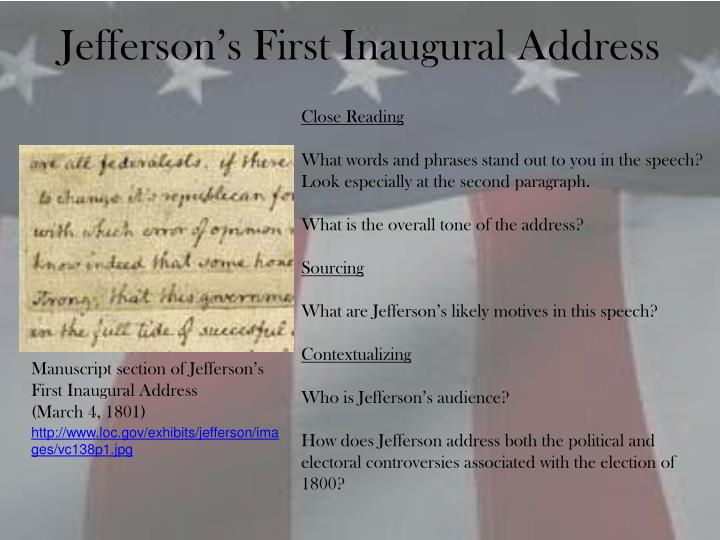 Jefferson's First Inaugural Address