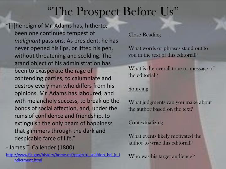 """The Prospect Before Us"""