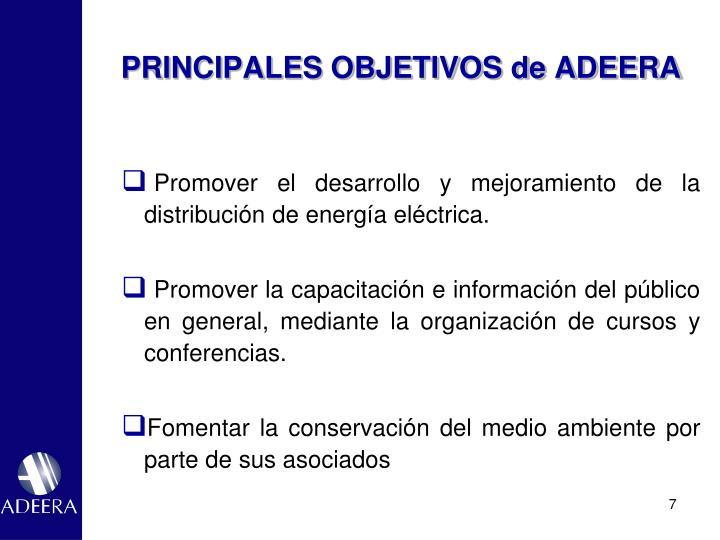 PRINCIPALES OBJETIVOS de ADEERA