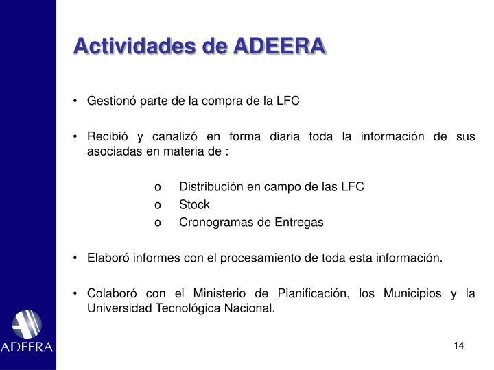 Actividades de ADEERA