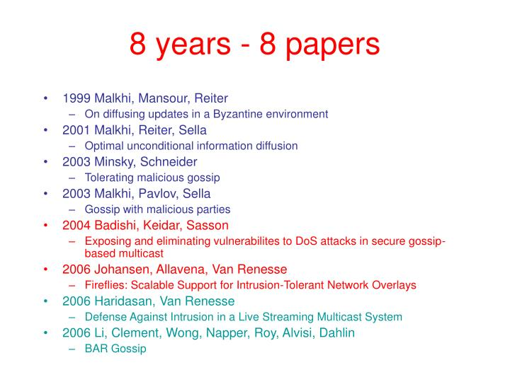8 years - 8 papers