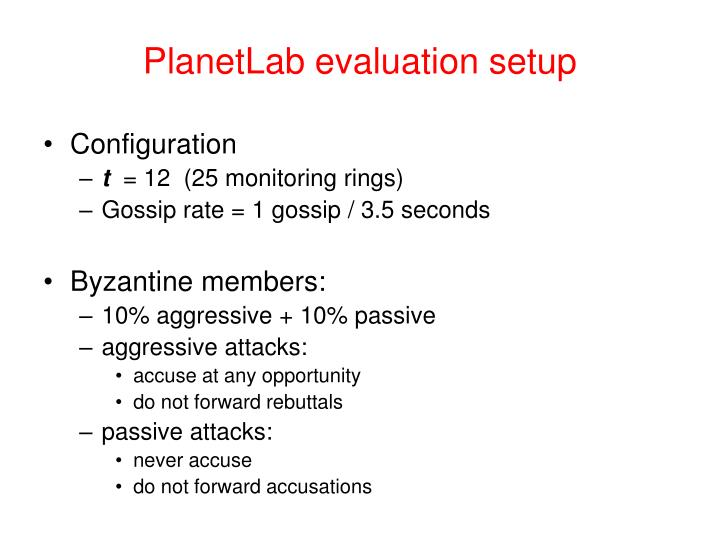 PlanetLab evaluation setup