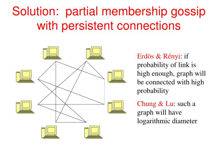 Solution:  partial membership gossip with persistent connections