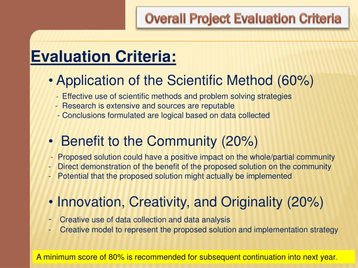 Overall Project Evaluation Criteria