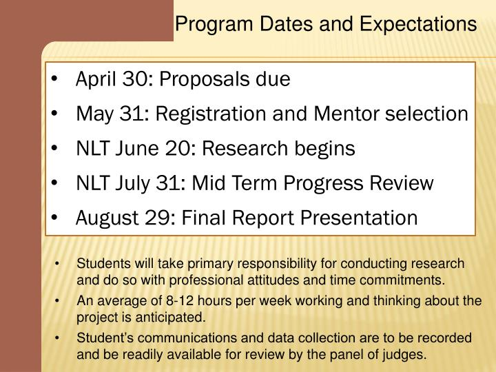 Program Dates and Expectations