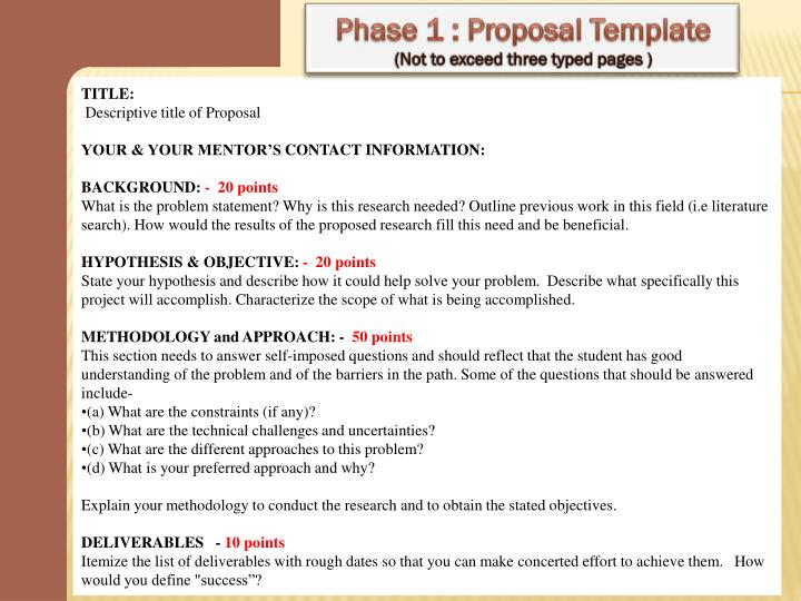 Phase 1 : Proposal Template