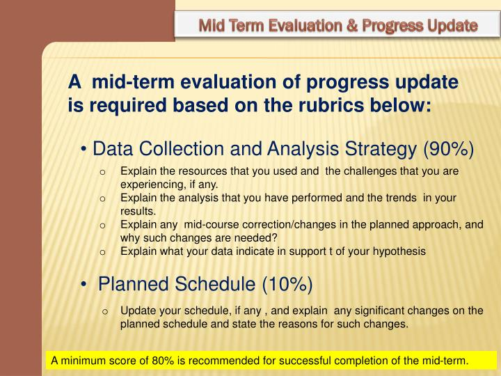 Mid Term Evaluation & Progress Update