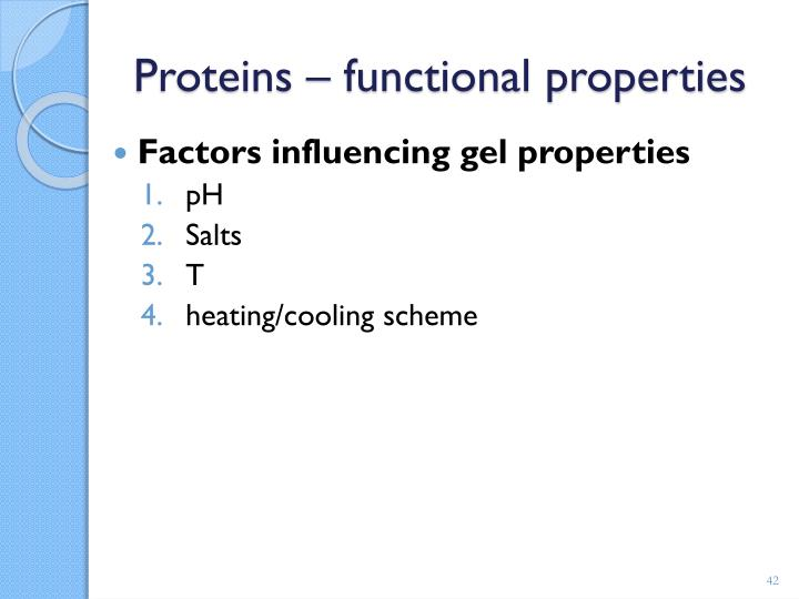 Factors influencing gel properties