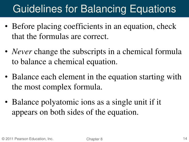 Guidelines for Balancing Equations