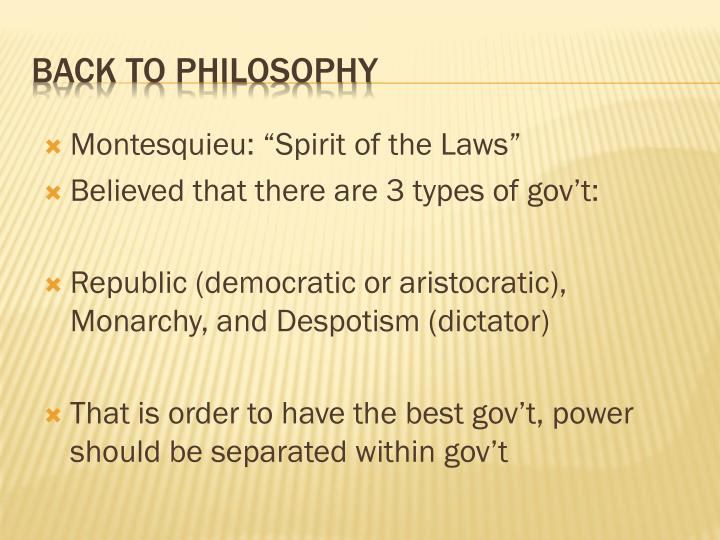 "Montesquieu: ""Spirit of the Laws"""