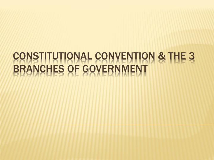 Constitutional convention the 3 branches of government