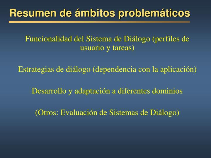 Resumen de ámbitos problemáticos