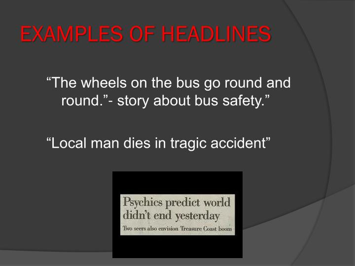 Examples of Headlines