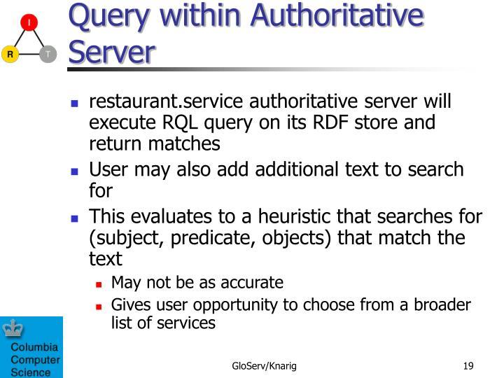 Query within Authoritative Server