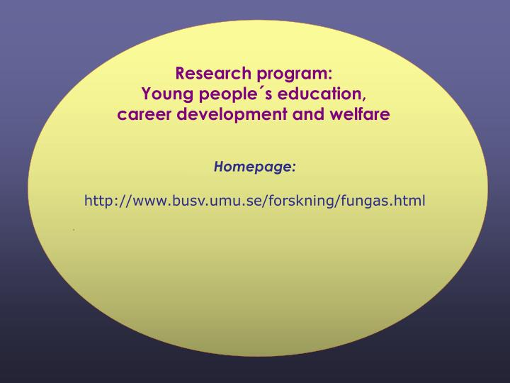 Research program:
