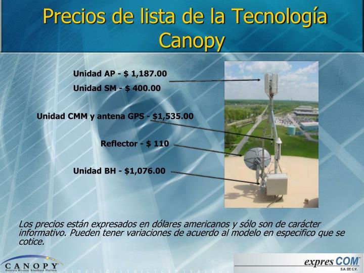 Precios de lista de la Tecnología Canopy