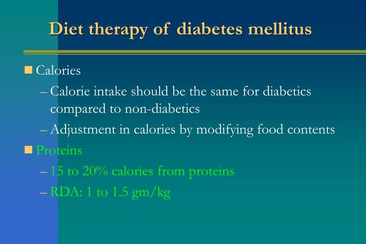 Diet therapy of diabetes mellitus