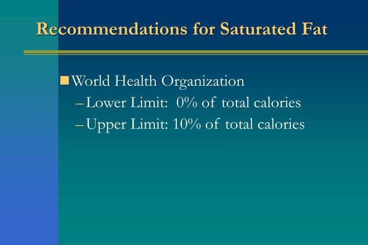 Recommendations for Saturated Fat