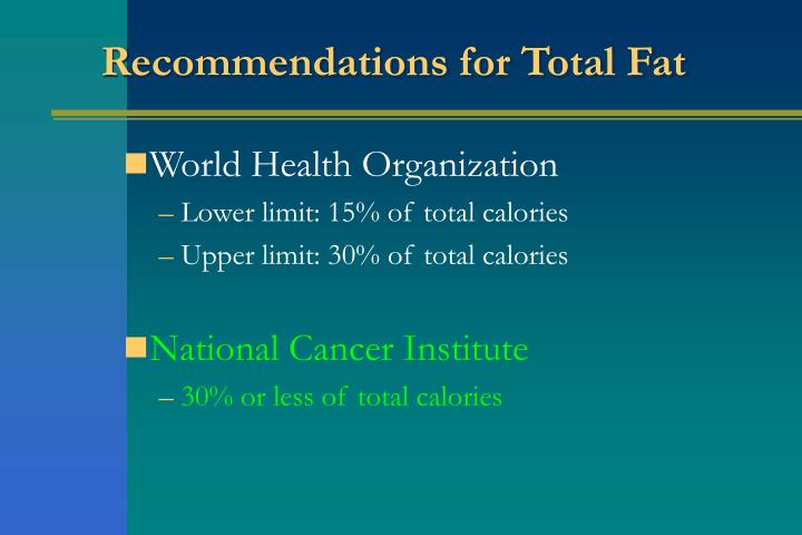 Recommendations for Total Fat