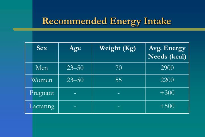 Recommended Energy Intake