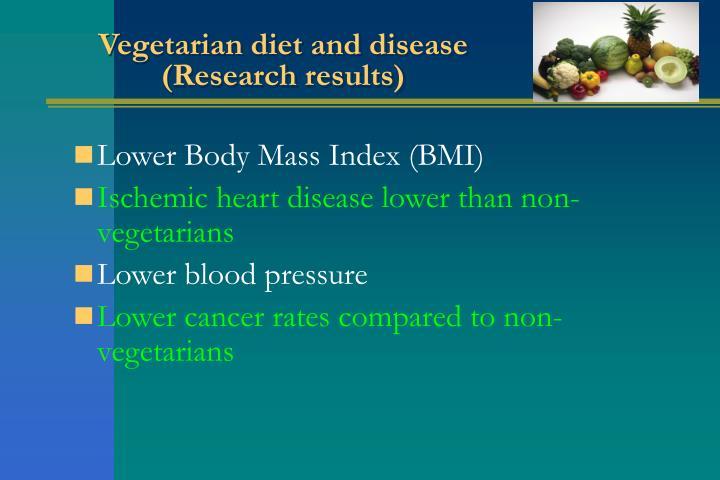 Vegetarian diet and disease
