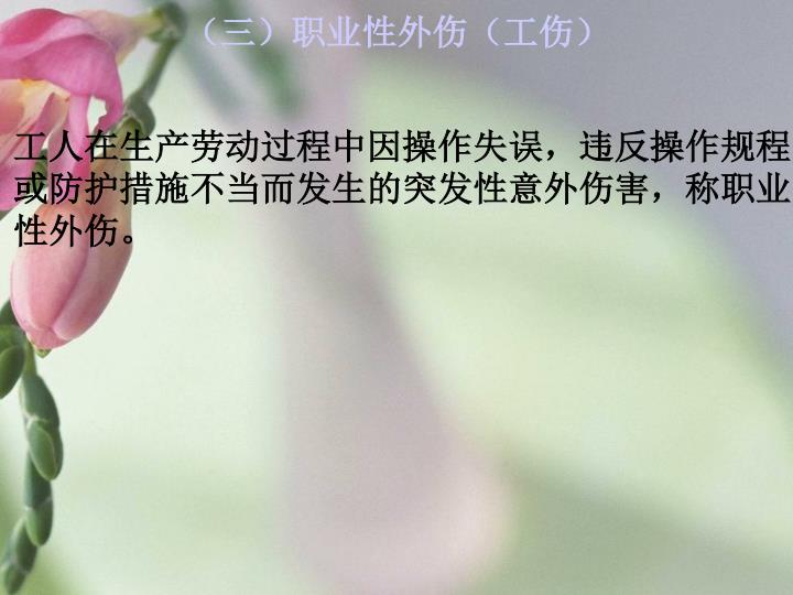 (三)职业性外伤(工伤)
