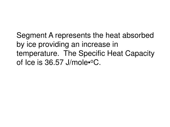 Segment A represents the heat absorbed by ice providing an increase in temperature.  The Specific Heat Capacity of Ice is 36.57 J/mole▪