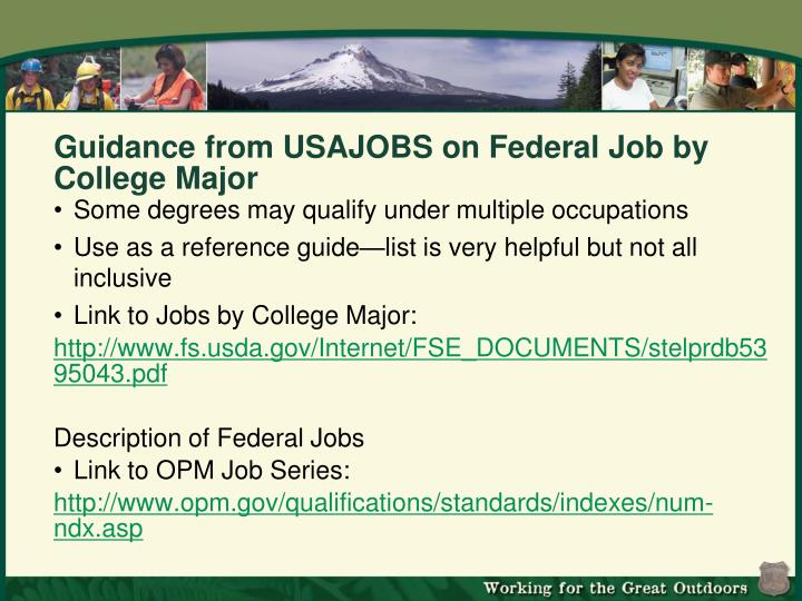 Guidance from USAJOBS on Federal Job by College Major