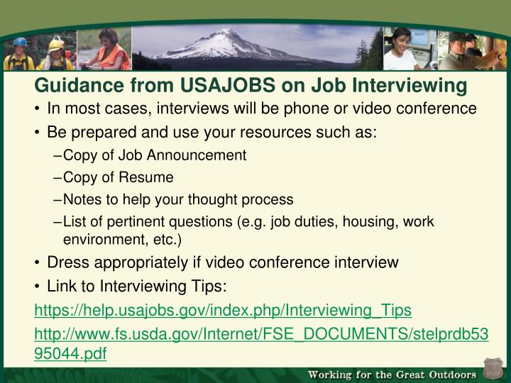Guidance from USAJOBS on Job Interviewing