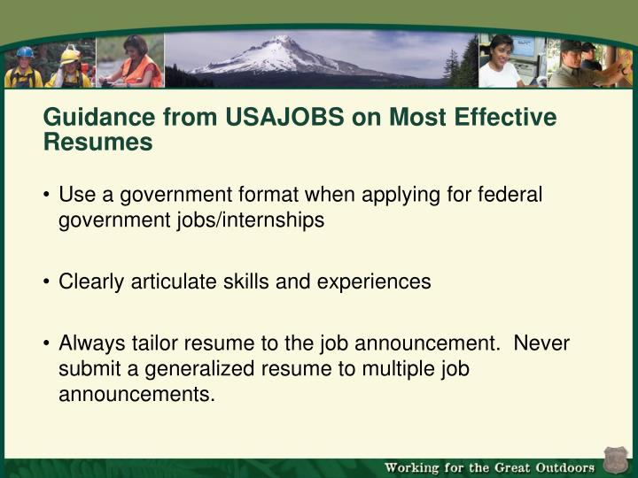 Guidance from USAJOBS on Most Effective Resumes