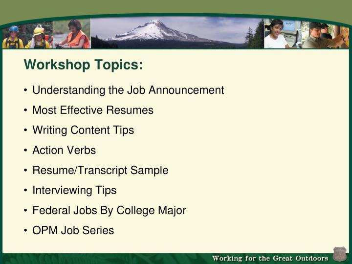 Workshop Topics: