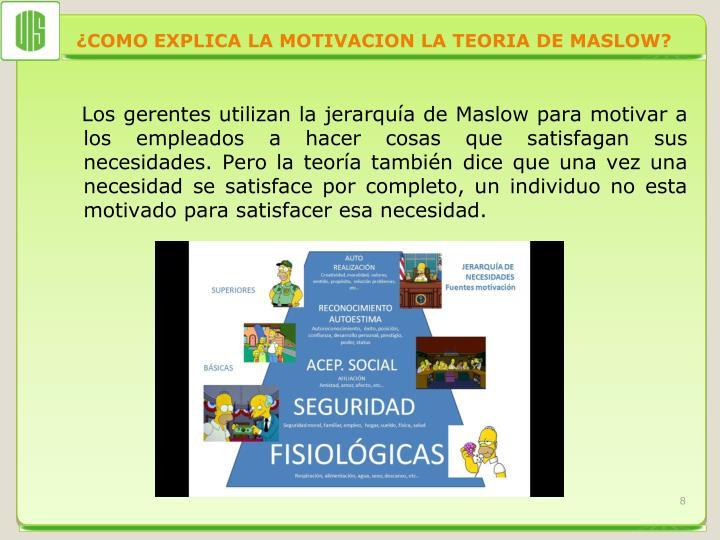 ¿COMO EXPLICA LA MOTIVACION LA TEORIA DE MASLOW?