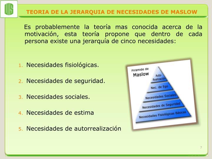 TEORIA DE LA JERARQUIA DE NECESIDADES DE MASLOW