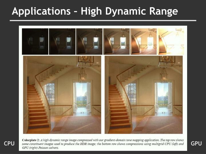 Applications – High Dynamic Range