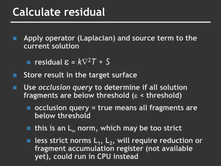 Calculate residual