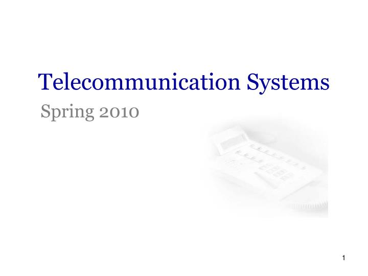 Telecommunication Systems