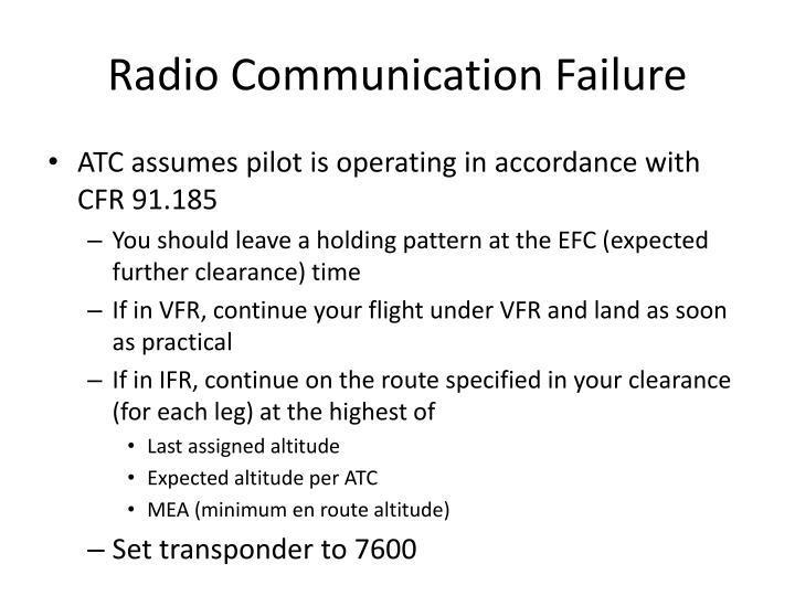 Radio Communication Failure